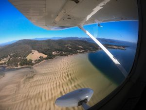 Simpsons Bay on Bruny Island, viewed from a flight with Island Scenic Flights