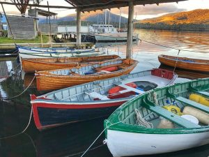 Handcrafted wooden dinghies on display at the Australian Wooden Boat Centre at Franklin, Tasmania