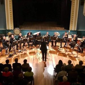 The Tasmanian Symphony Orchestra brass players performing at the Franklin Palais