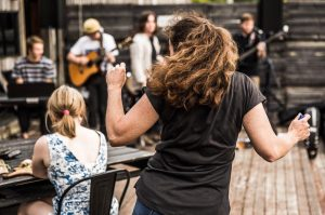 Getting into the groove at one of the regular musical events at Willie Smiths Apple Shed