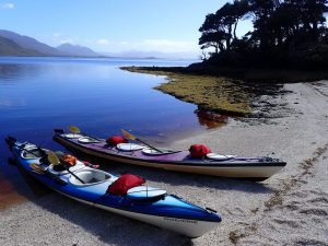 Roaring Forties kayaks on the shore of Port Davey