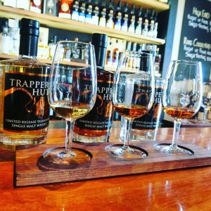 Tasting paddle at the Tasmanian Whisky Company on Bruny Island